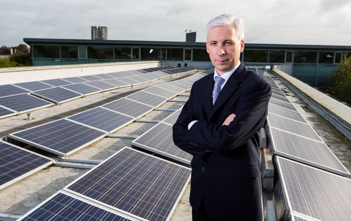 Joe McGrath, Chief Executive of Tipperary County Council and Solar Energy Installation on the Roof of Civic Offices, Nenagh.