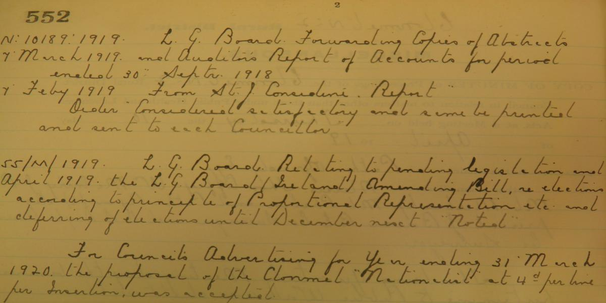 Extract from Minutes of Clonmel Rural Distrcit Council, 2nd April 1919