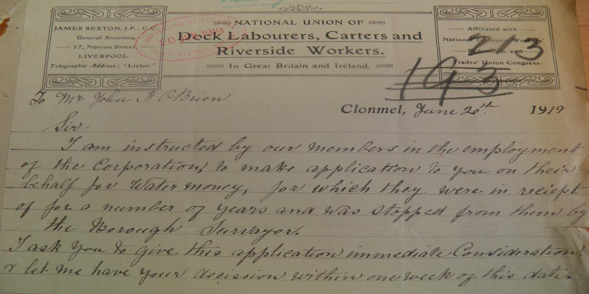 Letter to Town Clerk Clonmel from the National Union of Labourers, Carters and Riverside Workers, 20th June
