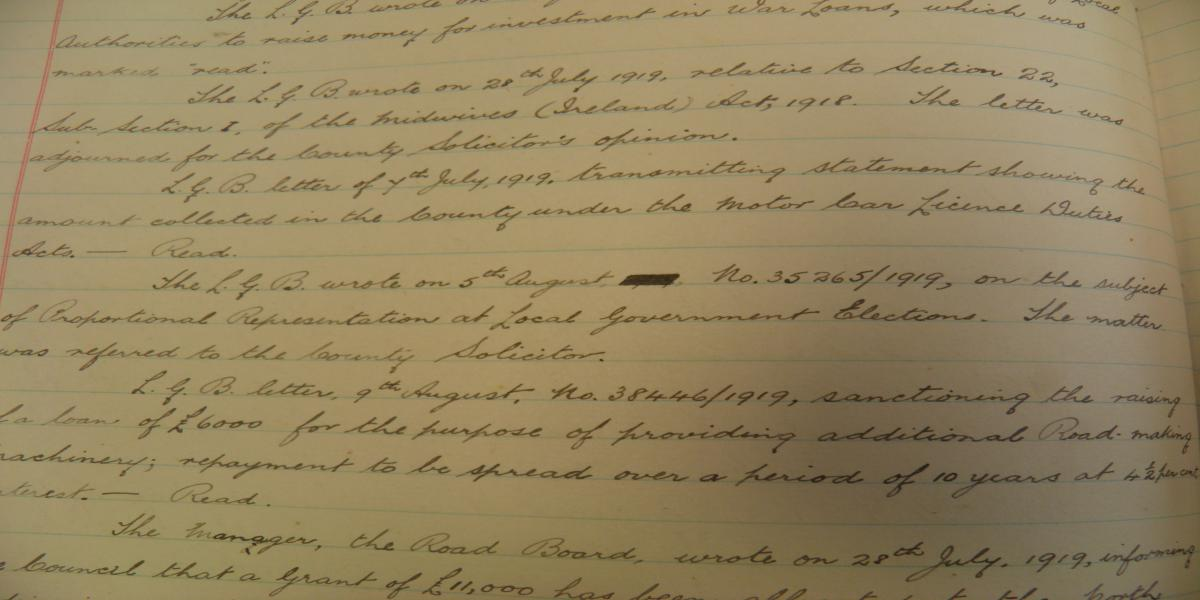 Extract from Minutes of Tipperary N.R. Council, 20th August, 1919