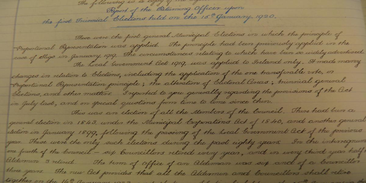 Extract from Minute of Clonmel Borough Council, 30th January, 1920