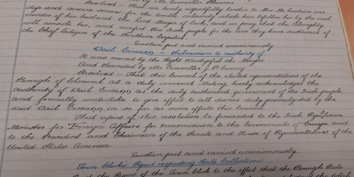 An image of Resolution passed by Clonmel Borough Council, 7th April, 1920