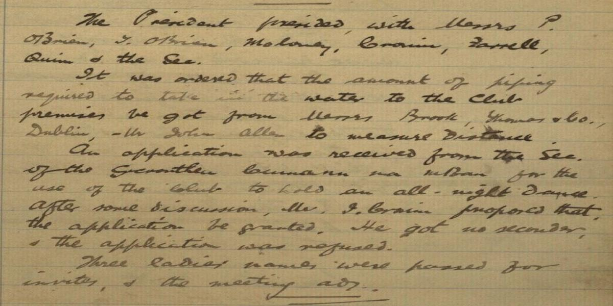 Image of extract from minutes of 7th October, 1919