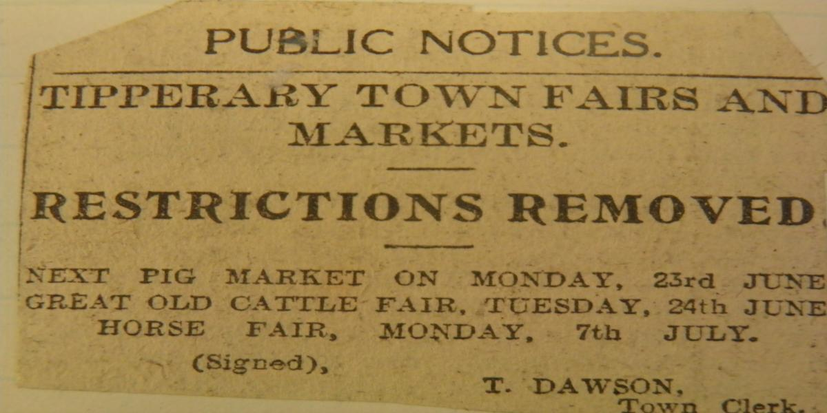 Public Notice announcing pig fair on 23rd June, 1919