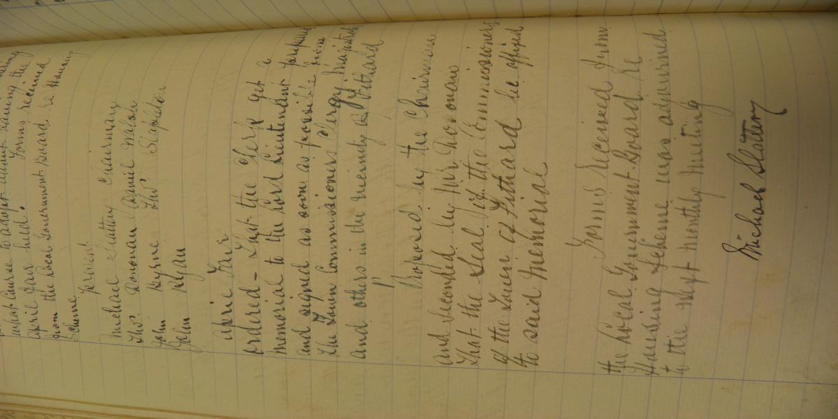 Minutes of Fethard Town Commissioners, 21st March 1919