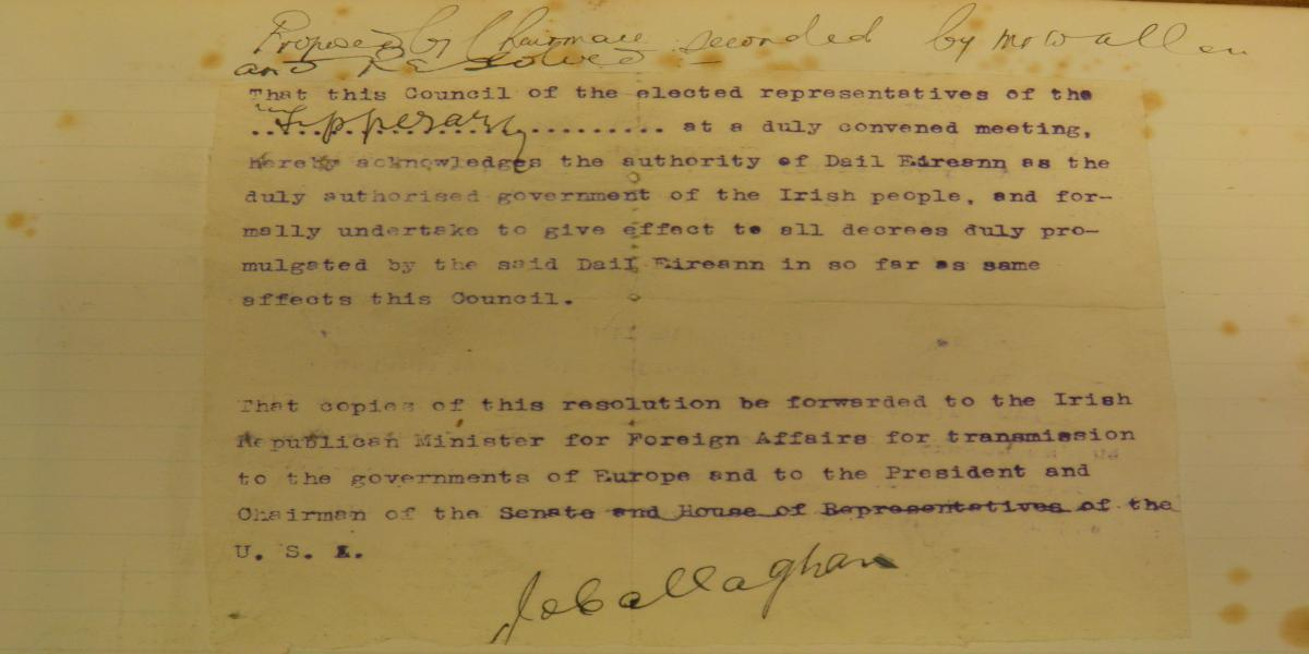 An image of Resolution passed by Tipperary Urban District Council, 7th June 1920
