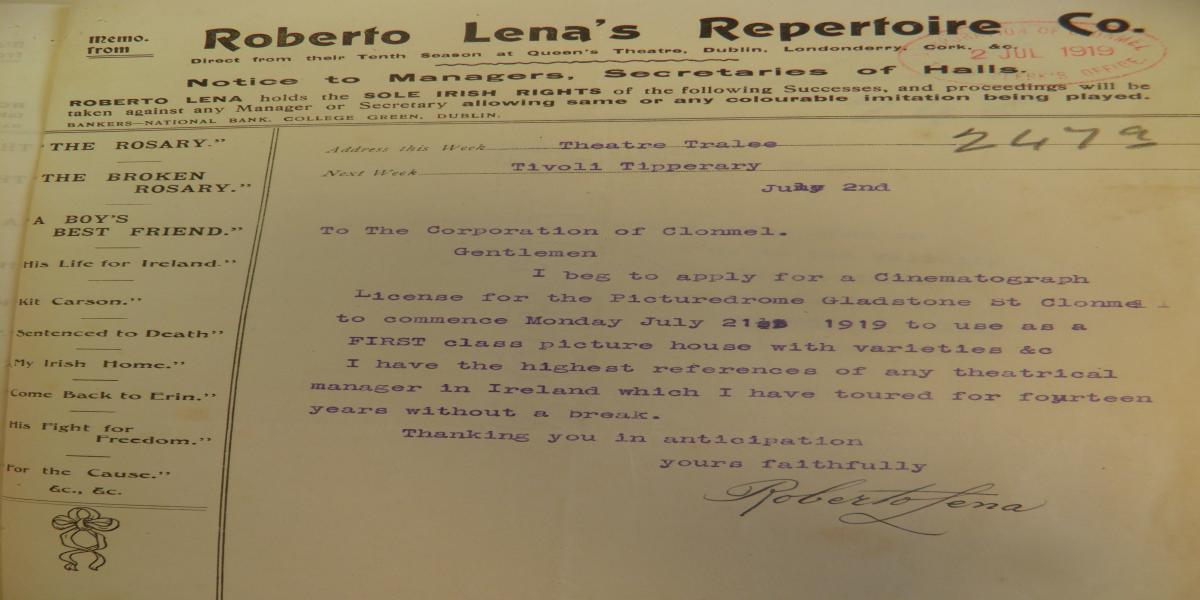 Letter from Roberto Lena to Clonmel Corporation, 2nd July 1919