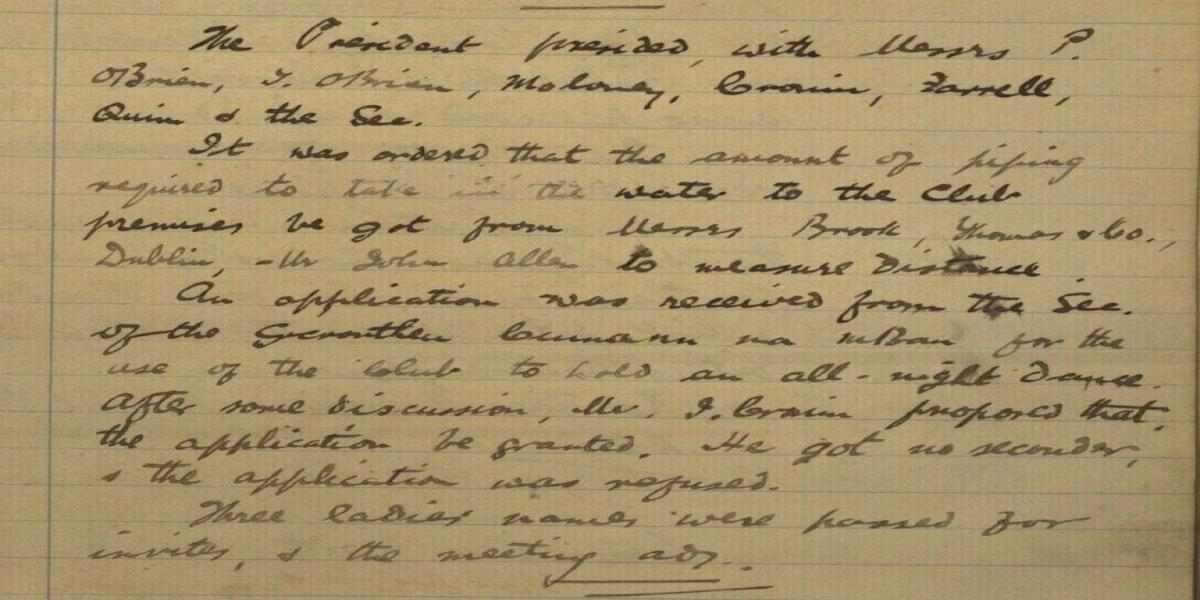 Image of extract from minutes of 30th September, 1919