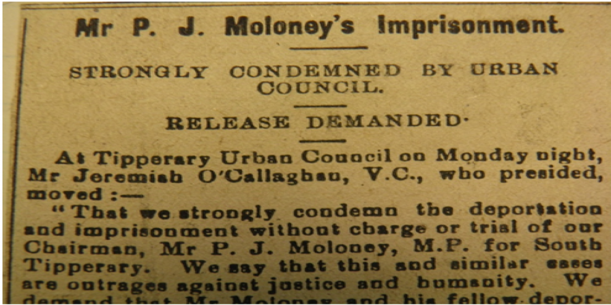 an image of Report of Resolution of Tipperary Urban District Council, 12th April 1920